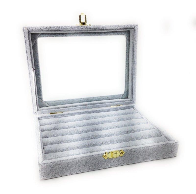 リングケース 指輪 ピアス 収納 ガラス蓋付き (ライトグレー)