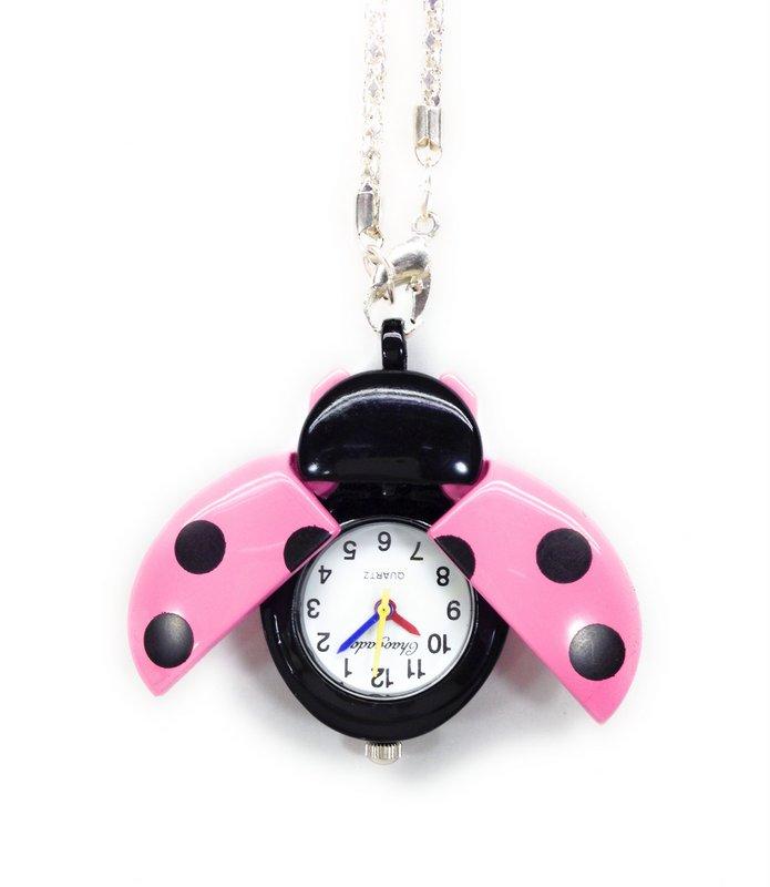【メール便送料無料・お届け日時指定不可】懐中時計 てんとう虫 (ピンク)