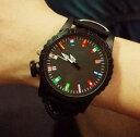 腕時計 12ヶ国 国旗 大盤 文字盤 男女兼用 ブラック