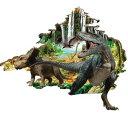 ウォールステッカー 壁を突き破る恐竜 滝のある森林 3D風