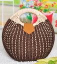 Women'S Bag - かごバッグ ハンドバッグ型 コロンと丸い きれいめ (ブラウン)