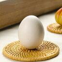 置物 茶玩 にわとりのたまごモチーフ 卵型 リアル シンプル 和風 陶磁器製 (ホワイト)