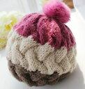 ニット帽 リブ編み 3色カラー ふわふわ ボンボン付き (ピンク×ブラウン)