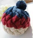 ニット帽 リブ編み 3色カラー ふわふわ ボンボン付き (ネイビー×レッド)