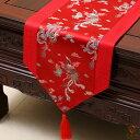 テーブルランナー 鳳凰デザイン 中国風 光沢のある色合い タッセル付き (レッド) 【送料無料】