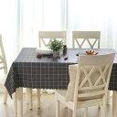テーブルクロス 2色使いのチェック柄 シック PVC製 (長方形A 135×180cm)
