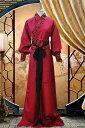 コスプレ チャイナ服 中国伝統柄 パフスリーブ メンズ レディース ロング 前リボン (レッド)