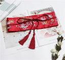 サッシュベルト 菊の花 刺繍 着物風 和柄 帯締め風の飾り紐 タッセルつき (レッド) 【送料無料】
