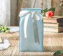 フラワーベース すりガラス風 角型の底面と丸型の口 リボン付き (ブルー, 中サイズ)