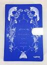 ノート 手帳 森の動物と昆虫 断裁面フラワー柄 メルヘンチック ブルー (B6サイズ, キツネB)