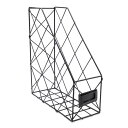 ファイルボックス ワイヤースタンド ダイヤのパターン柄 シンプル 北欧風 (ブラック×シングル)