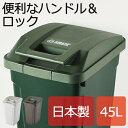 日本製 SP ハンドル付ダストボックス 45L ゴミ箱 ごみ箱 ダストボックス ふた付き おしゃれ 分別 屋外 45L可 45リットル可 スリム キッチン インテリア雑貨 北欧 リビング くずかご かわいい デザイン 見えない 日本製ごみばこ 蓋付き フタ付き アスベル