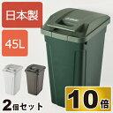 日本製 SP ハンドル付ダストボックス 45L 2個セット ゴミ箱 ごみ箱 ダストボックス ふた付き おしゃれ 分別 屋外 45L可 45リットル可 スリム キッチン インテリア雑貨 北欧 リビング くずかご かわいい デザイン 日本製ごみばこ 蓋付き フタ付き アスベル