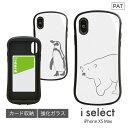 No112 シロクマさん・ペンギンさん i select iPhone XS Max対応 ガラスケース スマホケース カバー ジャケット 9H アニマル シンプル ホワイト 白 しろくま 白くま ぺんぎん iPhone XSmax 可愛い | かわいい スマホ ケース おしゃれ iphoneケース iphonexs max d:ani