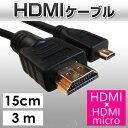 MONOSUPPLY 最入荷 HDMIケーブル HDMI-microHDMI Ver1.4対応 金メッキ仕様 15cm/3m マイクロHDMI