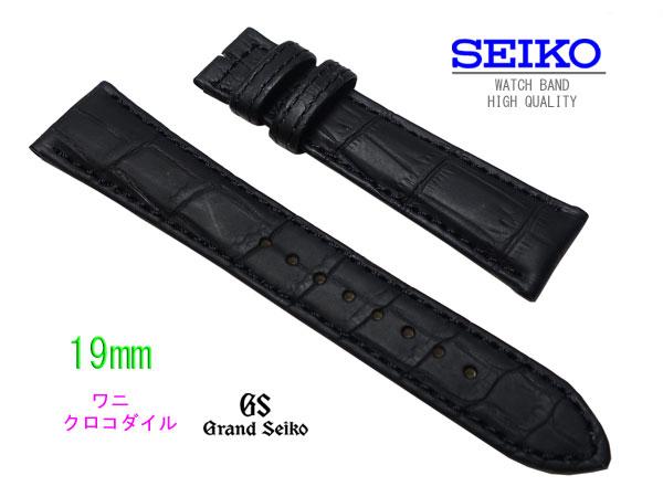 19mm  時計バンド  グランドセイコー SBGW031 純正ベルト   クロコダイル  黒 C002012J9 NO1  02P01Oct16