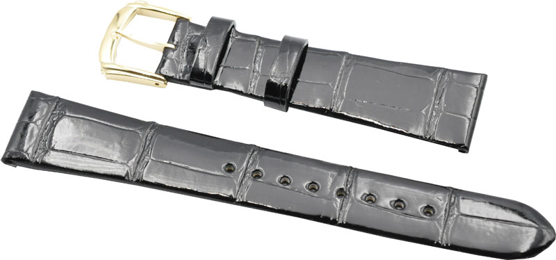 18mm セイコー 時計バンド DA08 クロコダイル 黒NO1