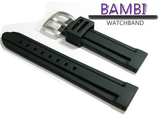 20mm バンビ 時計ベルト シリコンラバー バンド BG007A-S 黒【送料無料 ネコポスにて発送】