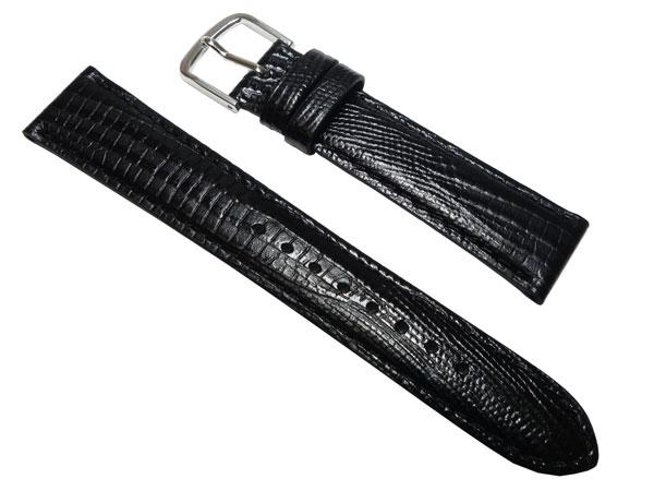 17mm セイコー   R0251AL 牛革テジュー型押 黒 時計 バンド ベルト