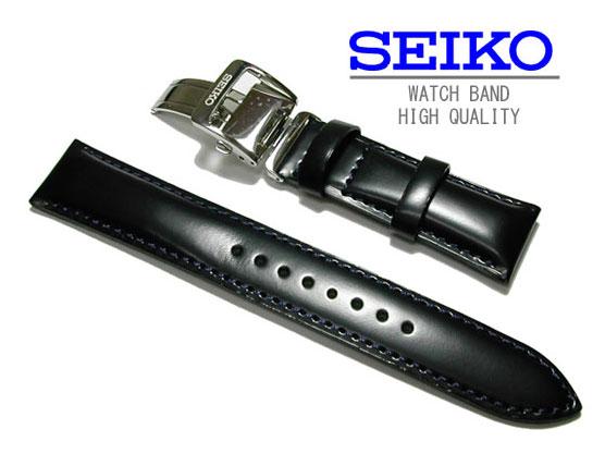 20mm 時計バンド  セイコー 純正ベルト バックル付き  牛革カーフ 黒 SARB065 純正バンド