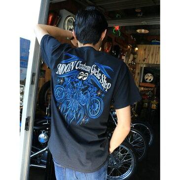 MOON CUSTOM CYCLE SHOP ピンストライプ Tシャツ