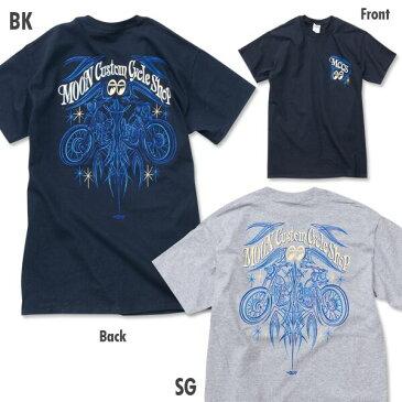 XXLサイズ MOON CUSTOM CYCLE SHOP ピンストライプ Tシャツ