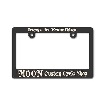 モーターサイクル ブラック ライセンス フレーム MOON Custom Cycle Shop