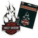 HARLEY-DAVIDSON w/Flames Cling Bling デカール (ステッカー)