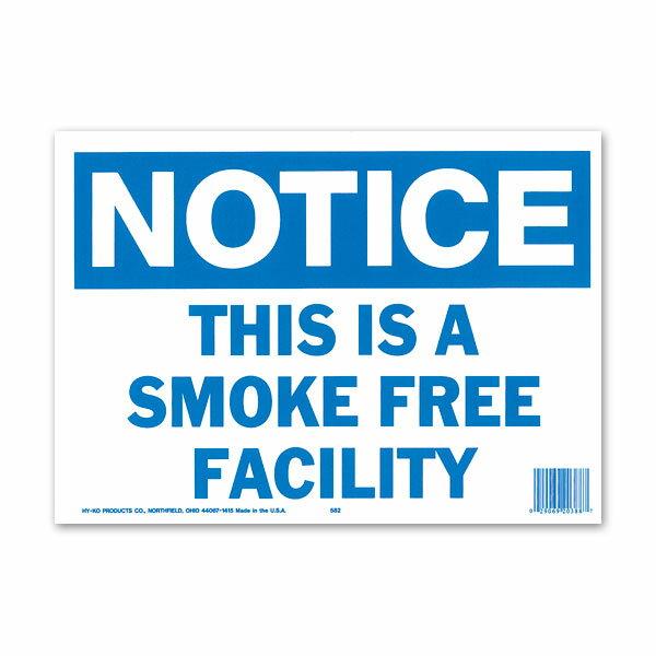 NOTICE SMOKE FREE FACILITY (注意、この施設は禁煙です) サインボード・メッセージプレート