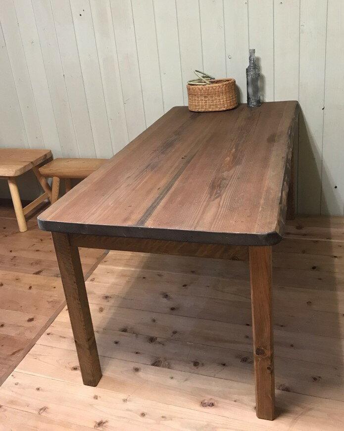 テーブル ダイニングテーブル 木製 カフェ 無垢 150cm  一枚板 2〜3枚接ぎ 天然木 アンティーク風 テーブル