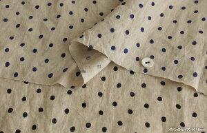 【生地布】【リネン生地】【ドット】ベルギーリネンローン1/60番手ナチュールドットシャツ、ブラウス、ワンピースにもおすすめ♪