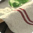 【 生地 布 】【 リネン 】【 オリジナル 】手洗いした 先染め 赤ライン アイリッシュリネン