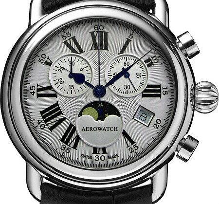 アエロウォッチ クロノグラフ (クォーツ)Chrono-Gent 1942 スイス製 84934-AA01[送料無料] スイスの名門時計工房(AEROWATCH)社 のクロノグラフ腕時計【超低価格】
