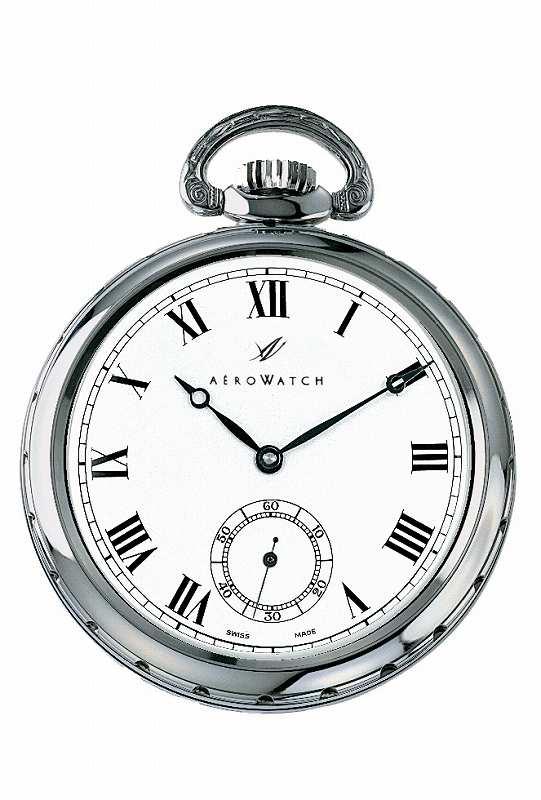 アエロ懐中時計(手巻き) 蓋の無いタイプ  スイス製 50685-CH01 [送料無料] 懐中時計の名門(AEROWATCH)社の 懐中時計 (チェーン付き )