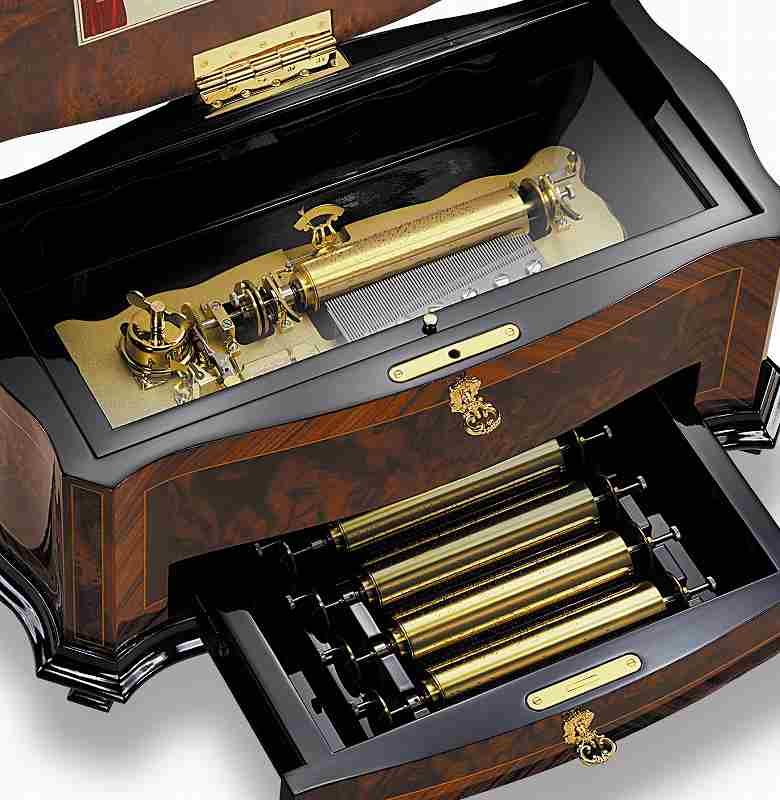 リュージュ REUGE R8256-003 72弁15曲入りオルゴール インターチェンジャブル クルミこぶ材