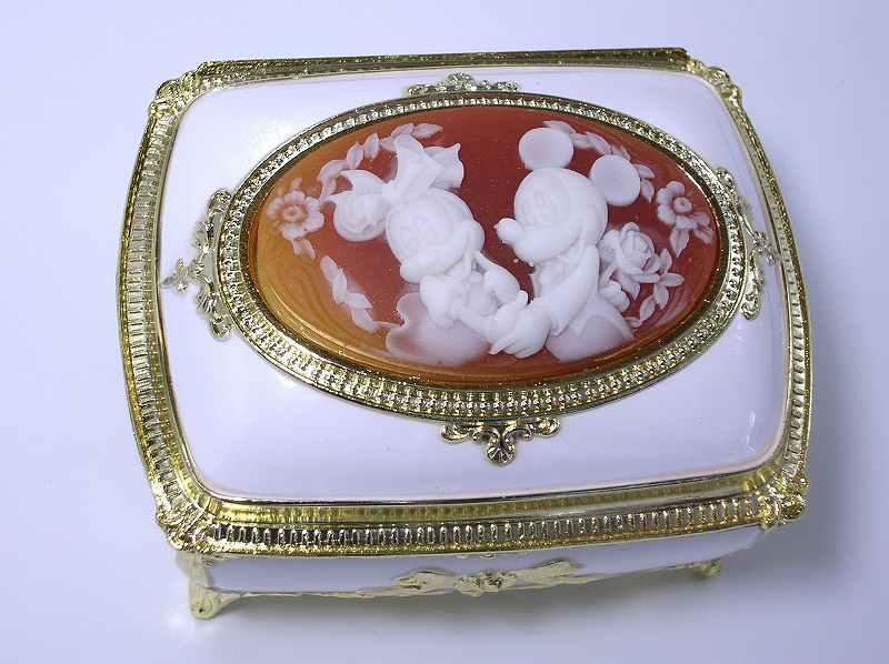 アンチモニー(カメオ)ジュエリーボックスオルゴール「ミッキー&ミニー」角型ホワイトサンキョ…...:morinouta:10000082