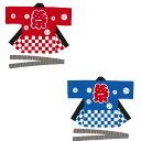 お祭り・法被・はんてん 大人用袢天 三升 市松 赤・青 帯・手拭付き 13 E7358・E7368 XLサイズ