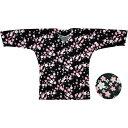 【お祭り用品・衣装】鯉口シャツ 黒 桜 S-LL D5796