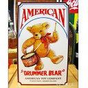 ブリキ看板 ドラムを持つくまのおもちゃ アメリカ雑貨/アメ雑貨/ガレージ/インテリア/レトロ/ブリキプレート