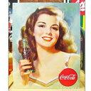ブリキ看板 Coca-Cola コカコーラ 美しいブルネット アメリカ雑貨/アメ雑貨/ガレージ/インテリア/レトロ/ブリキプレート