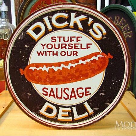 ブリキ看板 Dick's Sausage 円型 アメリカ雑貨/アメ雑貨/ガレージ/インテリア/レトロ/ブリキプレート
