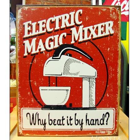 ブリキ看板 Magic Mixer アメリカ雑貨/アメ雑貨/ガレージ/インテリア/レトロ/ブリキプレート