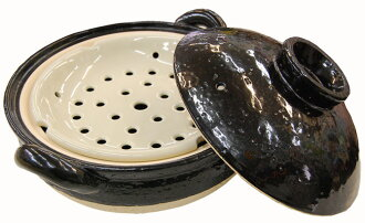Inspiring flavor of IGA-yaki pottery long Valley pottery 'healthy steaming hot pot' (black) prepared food itself fresh taste fs2gm