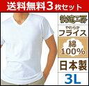 送料無料3枚セット 快適工房 半袖V首Tシャツ 3Lサイズ