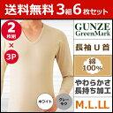 送料無料3組セット 計6枚 ちょっぴりお得! GreenMark 長袖U首Tシャツ 2枚組 Mサイズ Lサイズ LLサイズ グンゼ GUNZ...