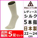 送料無料5足セット 杉山ニット工業 EMソックス シルク レディースソックス 5本指 日本製 くつした くつ下 靴下 こだわりシルク 通販