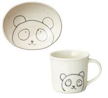 こどものための陶器 「キッズカレー」カレー皿&マグセット パンダ