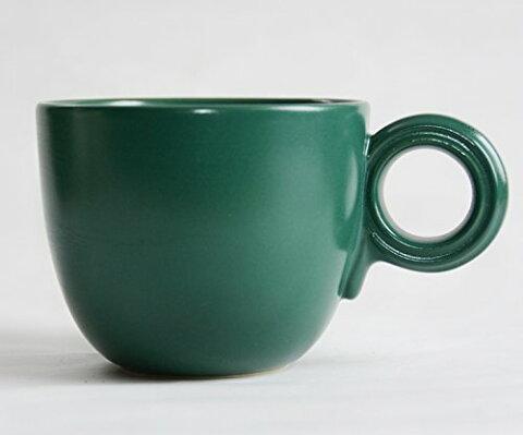 【リンドスタイメスト】VividGreen ビビッドグリーン緑色 持ち手がまんまる マグカップ  厚手 カップ マグカップ コーヒー ココア ミルク ティー カラー食器