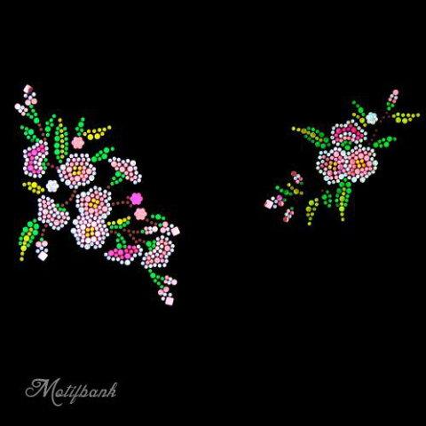 【スパングル】 スパンコールモチーフ (トレンドの お花のモチーフ 左右セット) アイロン接着可 XLサイズ