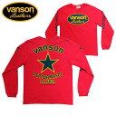 VANSON バンソン長袖Tシャツ「BLACK STAR」ブラックスター レッド ヴァンソン【モトブルーズ別注】